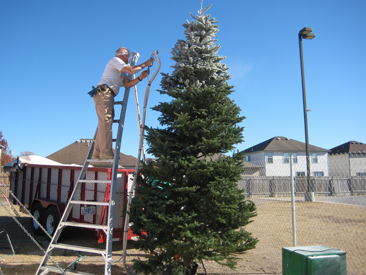 Photo gallery south texas christmas trees holiday hills brian in action flocking a 16 footer solutioingenieria Choice Image